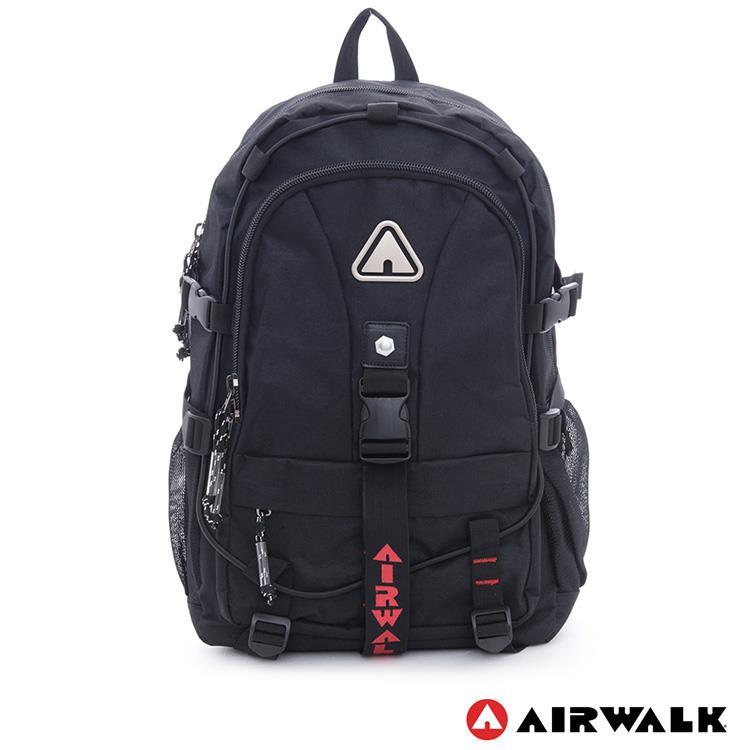 AIRWALK -安全守護 環線叉扣大容量登山筆電後背包-黑紅
