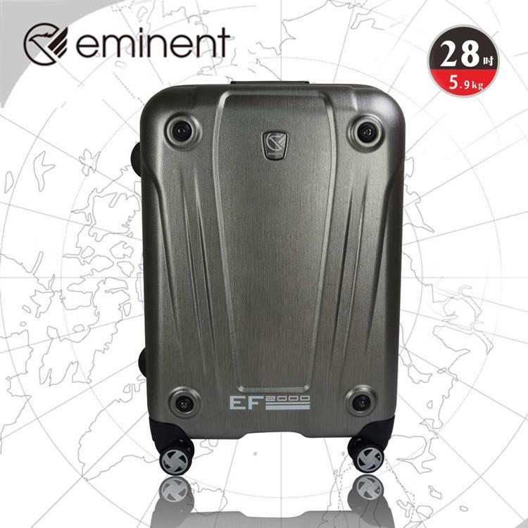EMINENT 輕鋁框霧面PC飛機輪旅超行箱-行李箱-28吋-灰綠