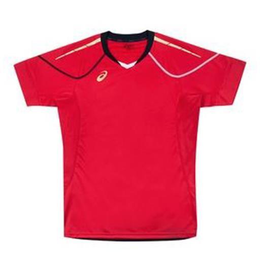 ASICS亞瑟士 男運動/排球短袖 機能T恤 吸濕排汗 透氣 XW6723-24(紅x金)
