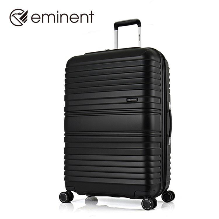 【EMINENT雅仕】霧面時尚格調玩色橫條紋PP四輪旅行箱-行李箱-19吋(黑/藍)