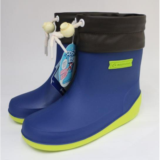 Moonstar 月星 日本製 輕量可折束口止滑耐磨  童鞋 高筒 雨鞋 MSRBB025(藍)