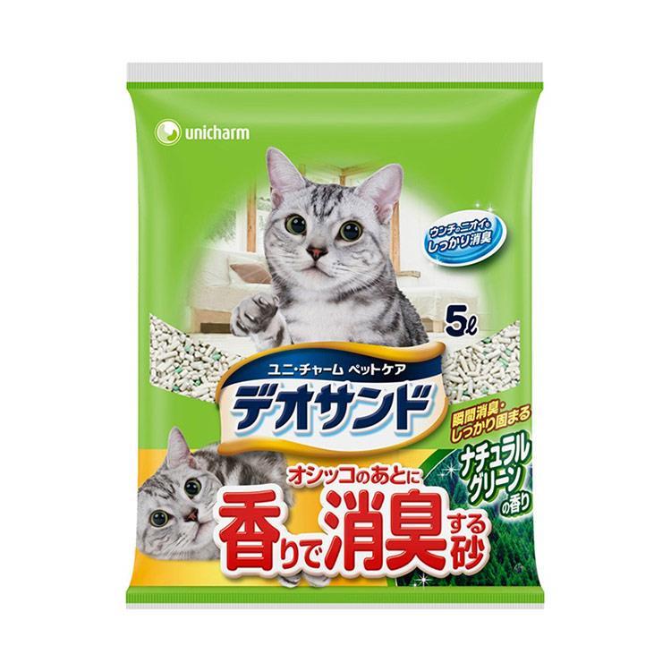 日本Unicharm消臭大師尿尿後消臭貓砂-森林香(5L x 4包/箱)