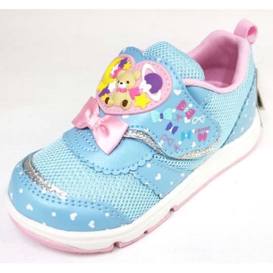 Moonstar 日本品牌熊熊造型 機能 運動鞋 魔鬼氈 舒適 童鞋 CRC21979(藍)