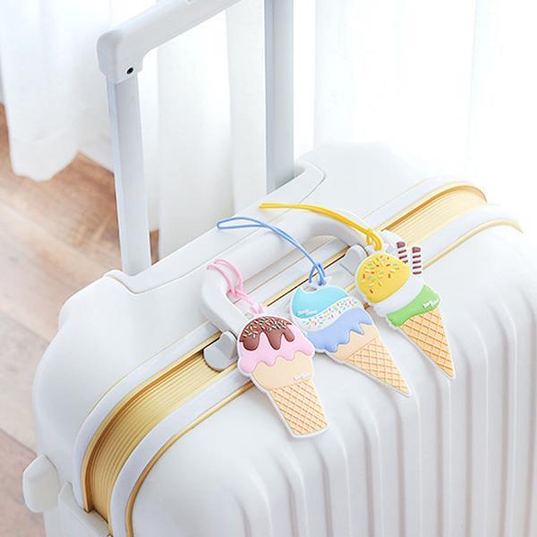 冰淇淋甜筒造型行李吊牌(黃色)