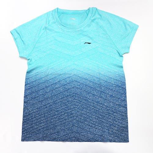 【LI-NING】李寧LNAAYN048-1 一體織藍色漸層濕排汗T恤 女款