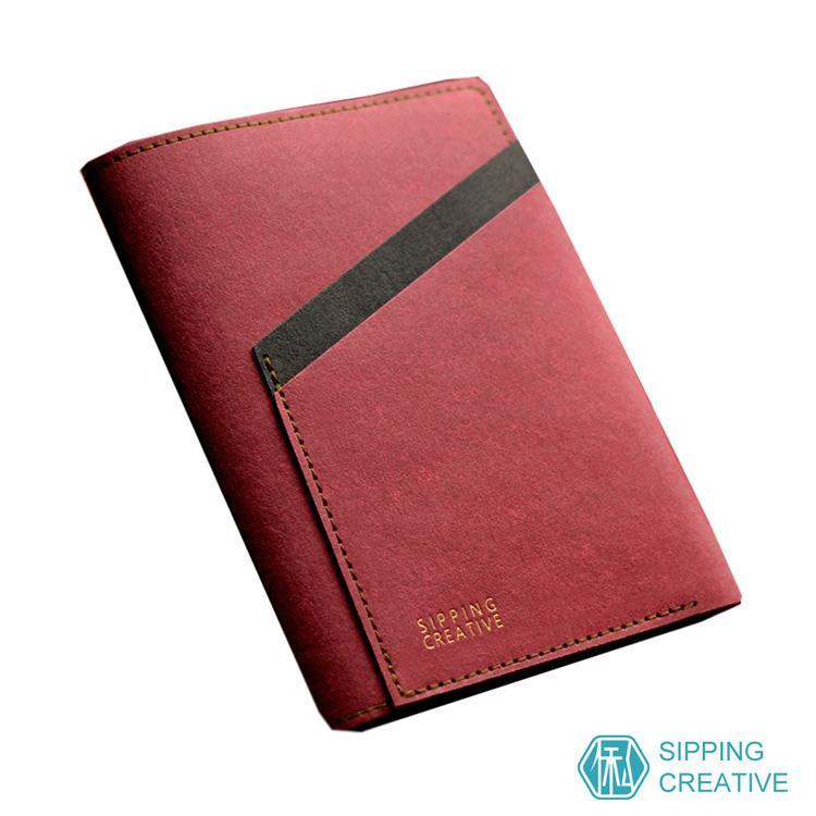 俬品創意 設計款紙革護照夾(醇酒紅色)
