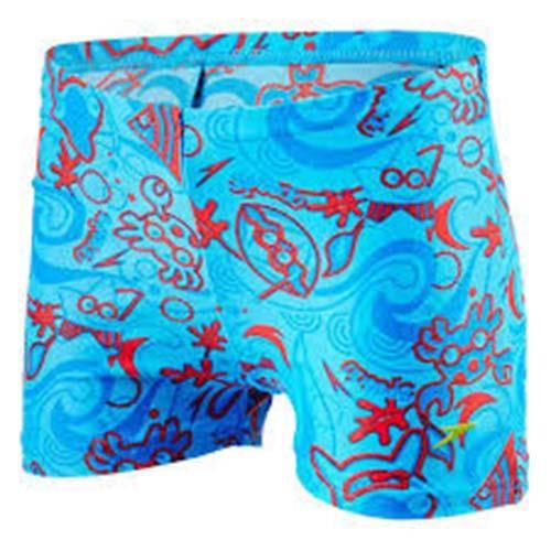 SPEEDO Seasquad 男童 快乾 平口 泳褲  SD809218B419 水藍印花