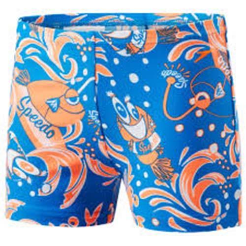 SPEEDO Seasquad 男童 快乾 平口 泳褲  SD805394C248 藍橘印花