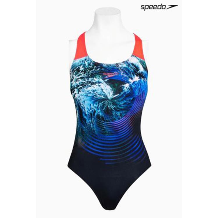 SPEEDO LOGO 女用 浪花 印花 競速 快乾 連身泳衣  SD806970c253 黑 藍