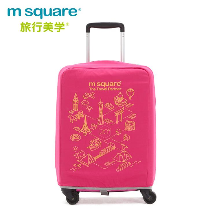 m square 加厚款行李箱套-世界風情20吋-桃紅