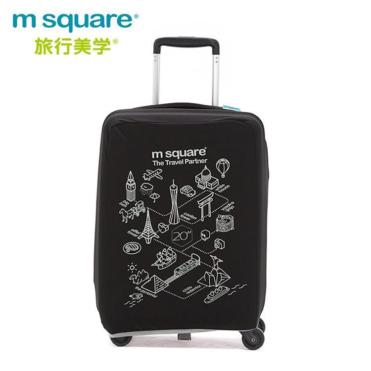 m square 加厚款行李箱套-世界風情20吋-酷黑