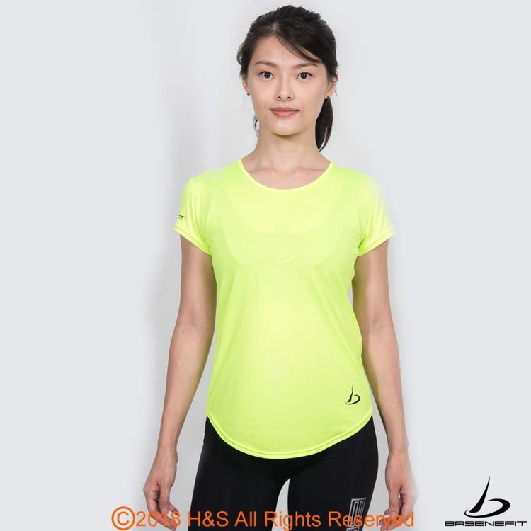 ◤BASENEFIT◢女子Coolback 跑步短袖上衣(黃)