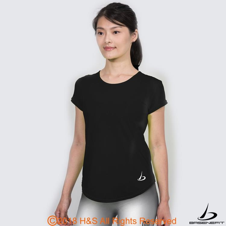 ◤BASENEFIT◢女子Coolback 跑步短袖上衣(黑)