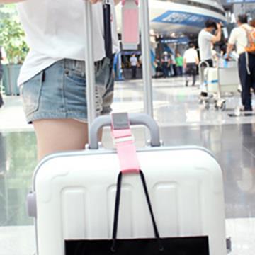 【FENICE】旅行押花行李掛帶 (粉紅)