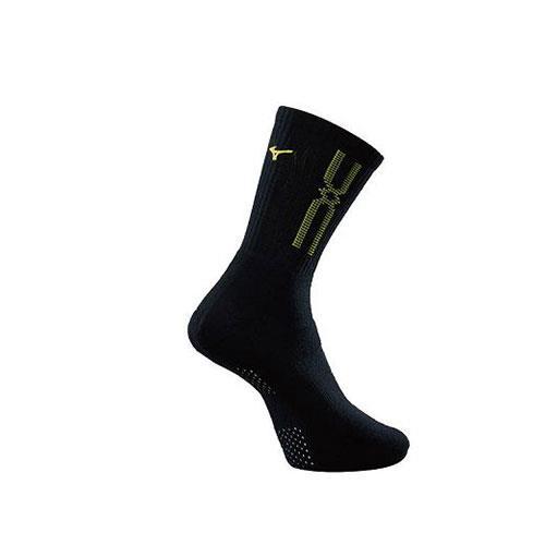 (AX) 美津濃MIZUNO 男款運動厚底襪 1組2雙 - 32TX90G837Q(黑x黃)