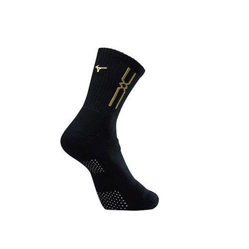 (AX) 美津濃MIZUNO 男款運動厚底襪 1組2雙 - 32TX90G845Q(黑x黃)