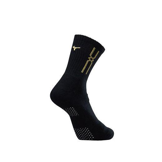 (AX) 美津濃MIZUNO 男款運動厚底襪 加大尺寸 1組2雙 - 32TX90G945Q(黑x黃