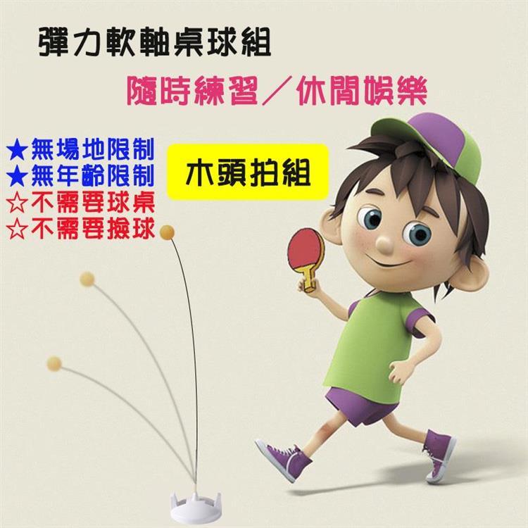 木頭拍桌球練習組 兒童桌球遊戲組 乒乓球組 桌球訓練 桌球拍 不需球桌 單人 雙人