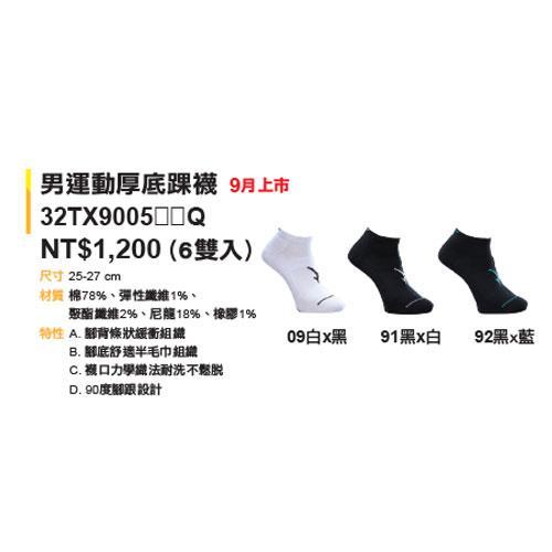 (AY) 美津濃MIZUNO 男款運動厚底襪 1組2雙 - 32TX900592Q(黑x藍)