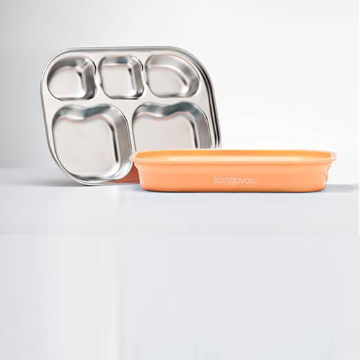 Kangovou小袋鼠不鏽鋼安全分隔餐盤-奶油橘