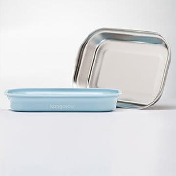 Kangovou小袋鼠不鏽鋼安全平板餐盤-野莓藍