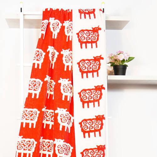 瑞典Klippan Q毛小綿羊有機棉毯--紅色