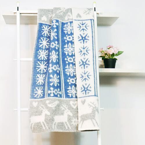 瑞典Klippan有機羊毛毯--北歐極光小精靈 (藍色)