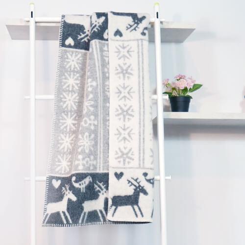 瑞典Klippan有機羊毛毯--北歐極光小精靈 (灰色)