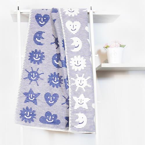 瑞典Klippan舒柔純棉毯--小宇宙 藍色