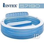 【INTEX】圓型藍色有靠背游泳池 57190