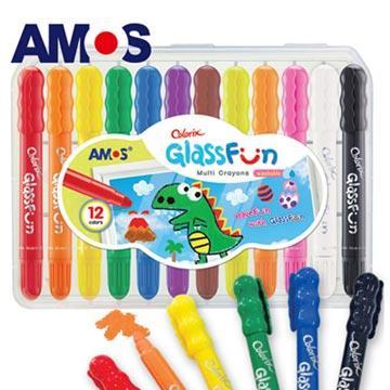 【虎兒寶】韓國 AMOS 多功能玻璃蠟筆 - 12 色