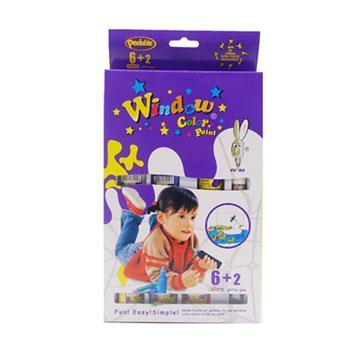 【愛玩色創意館】兒童無毒彩繪玻璃貼-盒裝組 6+2 色-台灣製