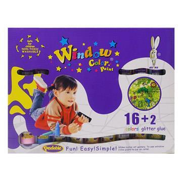 【愛玩色創意館】兒童無毒彩繪玻璃貼- 盒裝組 16+2 色-台灣製