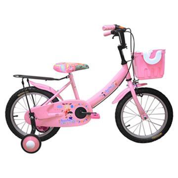 Adagio 16吋大頭妹打氣胎童車附置物籃-粉色(台灣製造)
