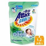 一匙靈Attack柔膚感EX超濃縮洗衣精補充包 -馬鞭草香氛1.2kg x6包