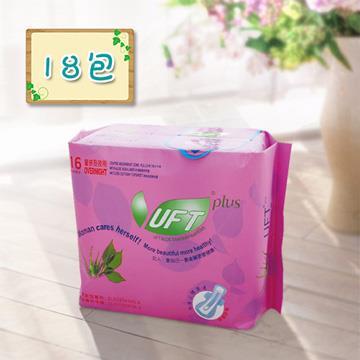 【芫茂UFT】天然蘆薈草本精華衛生棉夜用18包組