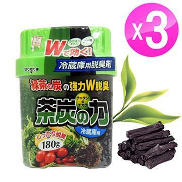 日本進口 綠茶炭冷藏庫專用消臭劑(180g/盒)3入組LI-2329