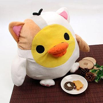 Rilakkuma拉拉熊寵物小雞大公仔抱抱玩偶(XL)-貓咪變裝