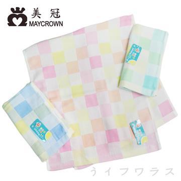 彩色格紋純棉毛巾-6028-12入