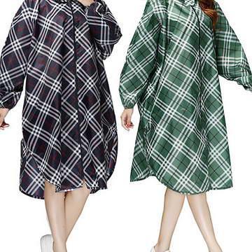 韓版格紋時尚雨衣(綠/黑)