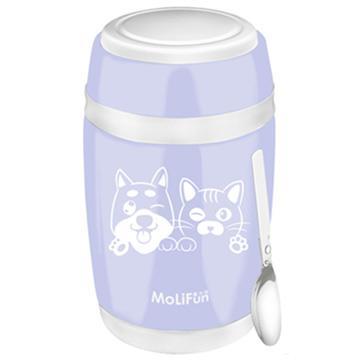 MoliFun魔力坊 不鏽鋼真空保鮮保溫燜燒食物罐550ml-淡雅紫(毛小孩版)