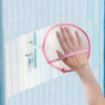 家庭打掃紗窗門簾除塵圓形清潔手套(隨機出貨)