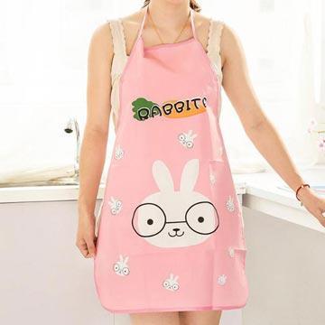 韓版萌動物薄款PVC圍裙(顏色款式隨機出貨)