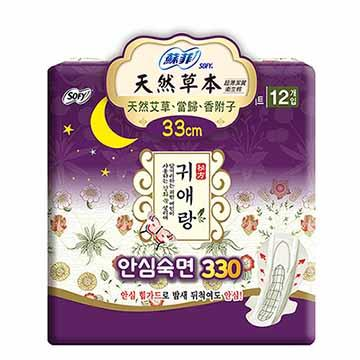 蘇菲 天然草本衛生棉(33cm)(12片/包)