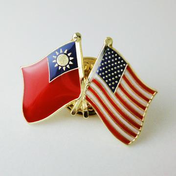 【國旗商品創意館】台灣、美國雙旗徽章10入組/中華民國/Taiwan/USA