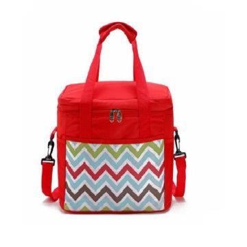 牛津波浪紋野餐保溫、保冰袋,側背提袋32L(紅)