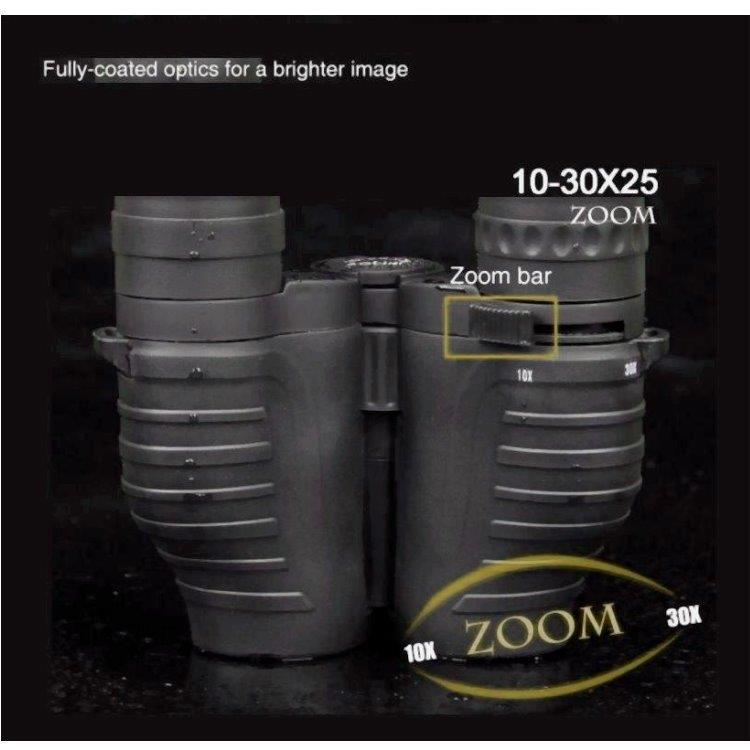 北美10-30x25口袋型變焦雙筒望遠鏡,戶外露營/生活防水中央調焦系統