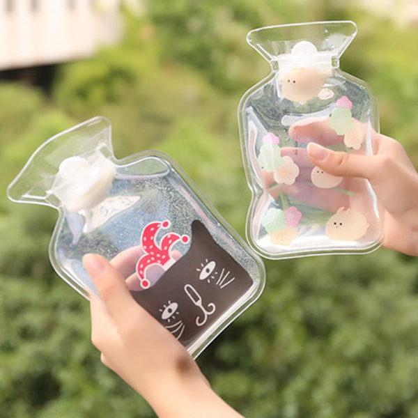 紳士貓透明PVC注水型熱水袋(黃冠萌貓)