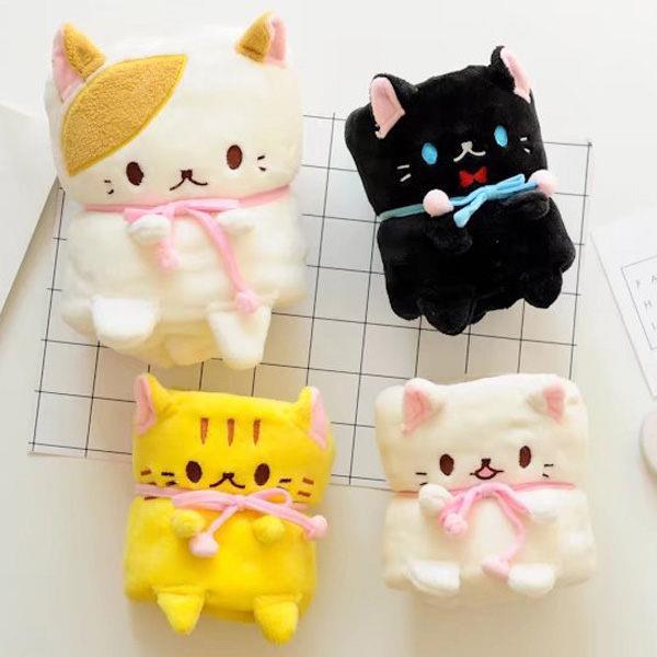 寵物貓咪可捲曲收納毯/小毛毯/懶人毯(白貓)