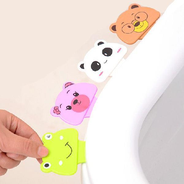 可愛動物頭便利免沾手衛生馬桶蓋輔助掀蓋器(隨機出貨)